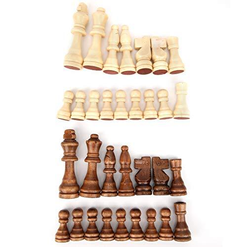 Garosa Piezas de ajedrez de Madera, 3.03 Pulgadas Rey Figuras 32 Piezas Pieza de Juego de ajedrez Internacional de Madera Juguete de interacción Padre-Hijo para Regalo de niños, sin Tablero