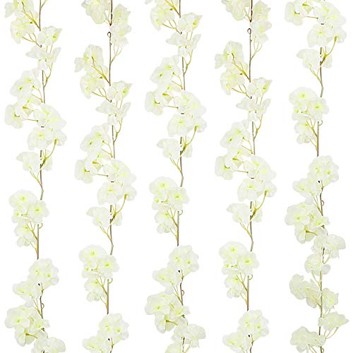 VINFUTUR 5 Pack Artificial Cherry Blossom Garland Silk Fake Cherry Blossom Flowers Hanging Vine Garland for Home Garden Outdoor Decoration (White)