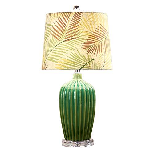 Iluminación de Interior American Country lámpara de mesa de cerámica del dormitorio de pasajeros lámpara de cabecera de la lámpara Esmeralda Noche verde retro impresión luz...