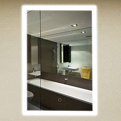 kuaetily Espejo de baño, espejo de maquillaje, 50 x 70 cm, con iluminación LED, ahorro energético, material de aleación de aluminio, plateado{con certificado CE},550LUX,90CRI,25nit,3 luces