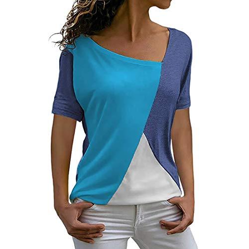 Camiseta casual de color contrastante para mujer Camiseta con bloqueo de color para mujer Top casual con cuello redondo Top para mujer con cuello redondo Costuras decorativas en contraste de color
