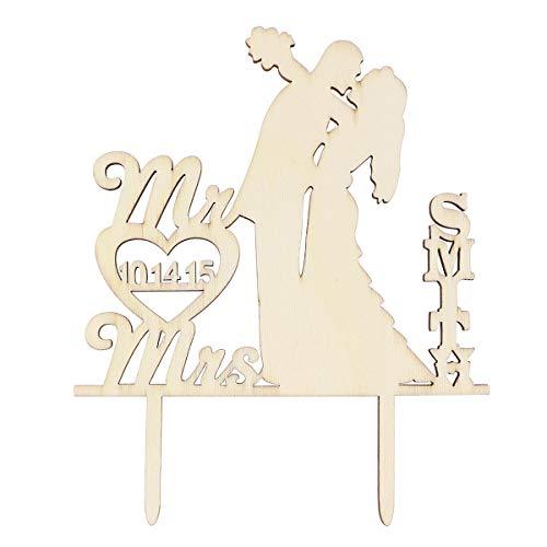 STOBOK Pastel de Madera Topper MR y Mrs Novia Novio Besos Silueta Cupcake Topper Día de San Valentín Aniversario Cupcake Selecciones Pastel Decoración Suministros