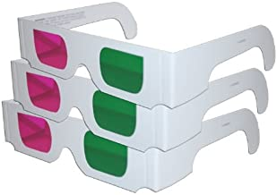 3D Glasses - Green/Magenta (3 PAIRS White Cardboard) - for Coraline, My Bloody Valentine, Journey to the Center of the Earth Home DVD