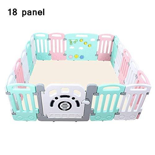 LY88 Zaun Baby Laufstall, 18 Zaunelemente, tragbar, für drinnen und draußen, Kunststoff, mit Tür und Spielfeld – große Fläche, Rose, 18 panel173x177x65cm
