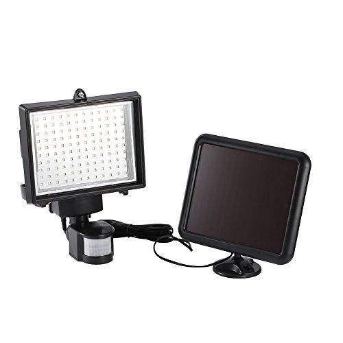 Foco Solar 120 LED, Luces Solares Led Exterior con Sensor de Movimiento Luz Solar de Pared para Exterior Jardín Patio, Fachadas, Calles, Interior o al Aire Libre