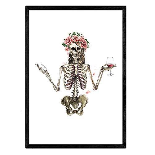 Nacnic Lámina Esqueleto Chica con Vino y Flores. Posters con imágenes de Calaveras. Tamaño A3 sin Marco