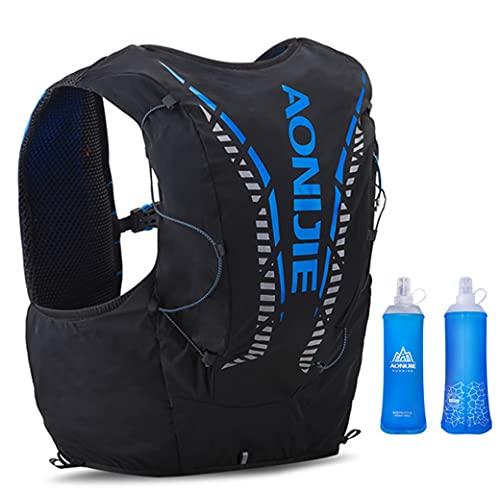 BESIXER 12L Profesional Ligero Mochila de hidratación Superior Chaleco para Trail Running Ciclismo Marathoner para Hombre Mujer Con 2 * 450ml Botellas Blandas (Negro-L/XL)