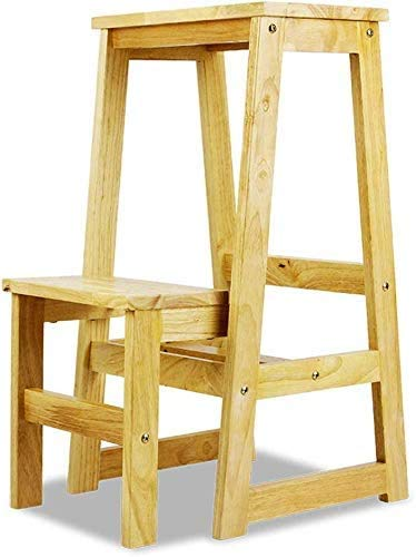 GUOXY Doppel-Trittschemel Aufstockung Massivholzkletterleiter Multifunktions Treppe Stühle Mit Anti-Rutsch-Weit Pedale Leicht
