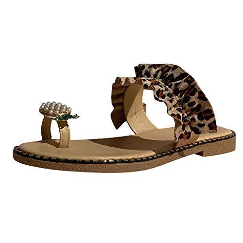 Sylar Sandalias de Verano para Mujer,Mujeres Niñas Perlas Planas Estilo Bohemio Sandalias Casuales Zapatillas de Playa