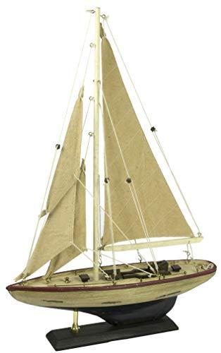 Nauticalia - Yacht per Stagno con Scafo Invecchiato, 30 cm, Colore: Marrone