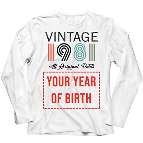lepni.me Camiseta de Manga Larga para Hombre Personalizado con Cualquier Año Regalo Vintage Todas Las Piezas Originales (XXXX-Large Blanco Multicolor)