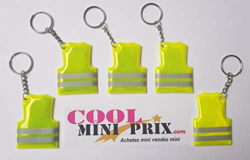 Lote de 5 llaveros de chaleco amarillo fluorescente – RIC – Izquierdo Refrigeración – Francia – Liberte Egalite Fraternite – Soporte para llaves – Llavero – Seguridad – Fluo