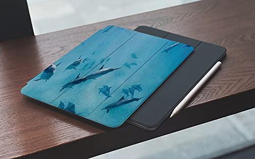 MEMETARO Funda para iPad (9,7 Pulgadas 2018/2017 Modelo), Grupo de Delfines en Hawái Fauna Silvestre Animales subacuáticos Tropical Acuático N Smart Leather Stand Cover with Auto Wake/Sleep