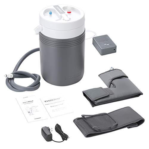 EVERCRYO Cold Therapy Machine System with Large Ankle Pad, Adjustable Ergonomic Wrap Pad and Cooler Pump, Quiet, Lightweight and Effective Cryotherapy Freeze Kit Pump