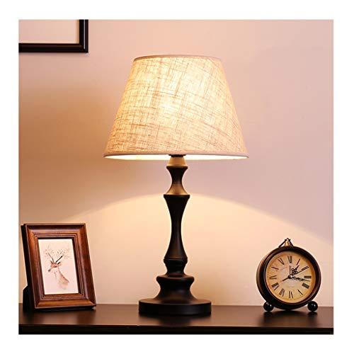 WFL - Lámpara de mesa de escritorio simple americano, 2 colores de tela de hierro forjado E27 * 1, salón, decoración Sofa, dormitorio, hotel, lámpara de mesa de alta calidad (color: B)