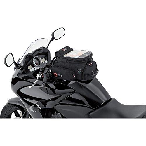 QBag Tankrucksack Motorrad Magnet Tanktasche Motorrad Tankrucksack 04 Magnet mit haftstarken Magneten für Stahltanks, Kabeldurchführungen, Innentaschen, Aufsatztaschen, Kartenfach, inklusive Regenhaube, Schwarz, 12 Liter