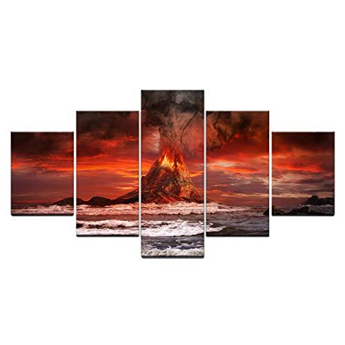 Roter Vulkan-Lavahimmelozean Wanddekoration abstrakte Leinwand Malerei Wandkunst Druck Dekoration Bilder 5 Teilig Bild auf Vlies Leinwand Deko Wohnzimmer MotiveGerahmt 200x100cm