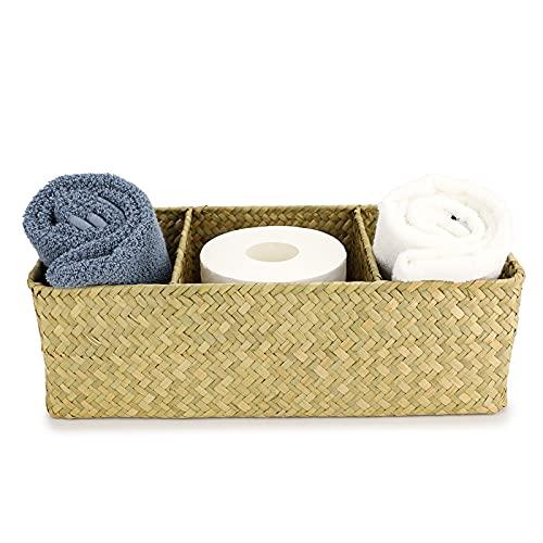 SUMTREE Aufbewahrungskorb aus Rattan,3 Gitter, Aufbewahrungsbox, Für Toilettenartikel und Taschentuch, Aufbewahrungskiste in Badezimmer Wohnzimmer Küche (Rechteckig,Hellgelb)