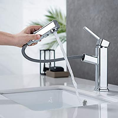 Bathroom Sink Faucet with Pull Out Sprayer, Single Handle Basin Mixer Tap for Hot and Cold Water, Lavatory Pull Down Vessel Sink Faucet with Rotating Spout Chrome Color(Chrome)