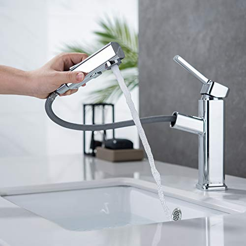Bathroom Sink Faucet Single Handle Brushed Nickel Basin Mixer Tap for Hot and Cold Water Sink Faucet Commercial Stainless Steel Faucet Sink Faucet (Chrome1)