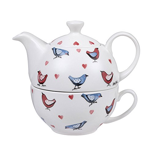 Alex Clark Fine China Love Birds Tea for One, Mehrfarbig