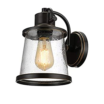 Globe Electric Charlie Outdoor Indoor Wall Sconce LED Bulb Included Oil Rubbed Bronze Clear Seeded Glass Shade,44127