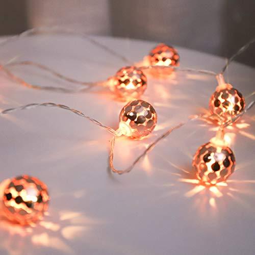 Globe LED Lichterketten, Roségoldene Kugeln, Batteriebetrieben, 20 Kleine Warme Globus Lichter, LED Lichterketten mit Timer, für Innen und Außen, 3 Meter