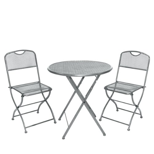 Greemotion Balkonset Estera, Grau, Tisch: ca. Ø 60 Höhe: ca. 72 cm, Stuhl: ca. 42 x 48 x 86 cm