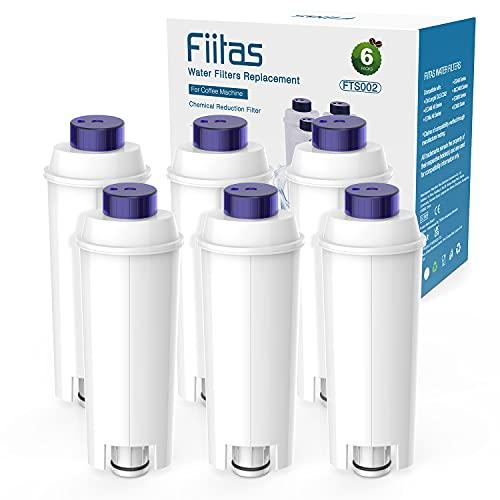 Fiitas Wasserfilter Ersatz für DeLonghi DLSC002 Kaffeemaschinen, Wasserfilterpatronen AktCivkohle-Enthärter für Delongie, kompatibel mit De'Longhi ECAM, Esam, ETAM, BCO, EC. (6 Stück)