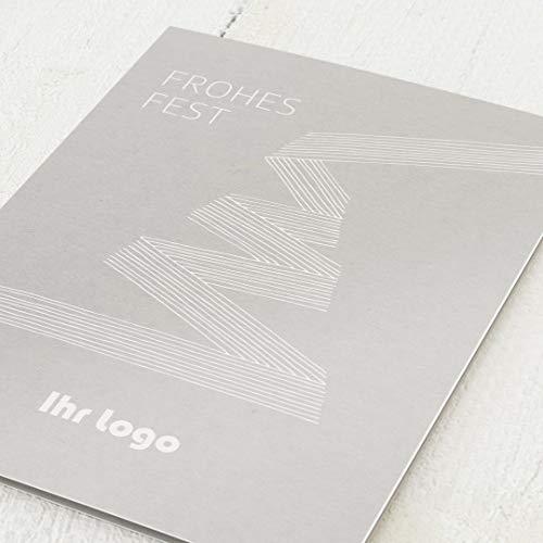sendmoments Firmen-Weihnachtskarten im Set, personalisiert mit Ihrem Firmenlogo & -Text, Tannenbaum, 12 Klappkarten, wahlweise mit Veredelung in Gold, optional Design-Umschläge