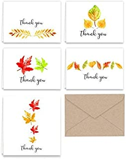 Paper Frenzy Fall Leaves Thank You Note Cards & Kraft Envelopes - 25 pack