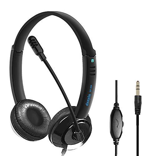 KKSH PC Headset 3,5mm, Headset Handy mit Mikrofon Noise Cancelling & Lautstärkeregler, PC Kopfhörer 3,5mm Klinke, für Computer Business, Skype, SoftPhone, Call Center, Office