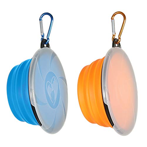 Collapsible Dog Bowl,2 Pack Portable and Foldable Pet Travel Bowls Collapsable Dog Water Feeding Bowls Dish for Dogs Cats and Small Animals,with Lids (Small, Blue+Orange)