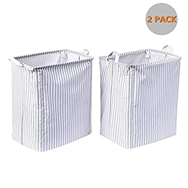 Laundry Hamper Collapsible | Set of 2 Laundry Basket Stay Upright | Waterproof Storage Bin for Baby Room, Bathroom, Nursery, Cabinet (White Oxford Clothes with Grey Striped, 19.7  H x 11.8  W x 15.7