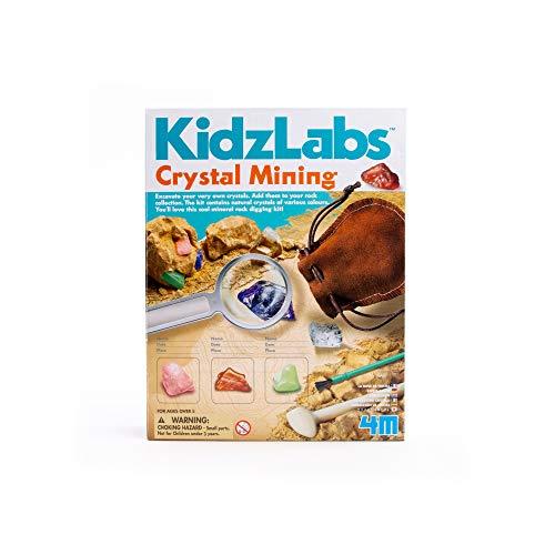 4M Kidzlabs Crystal Mining Kit - DIY Geology Science Dig Excavate Gemstones Minerals - STEM Toys Gift for Kids & Teens, Boys & Girls, Model:3564