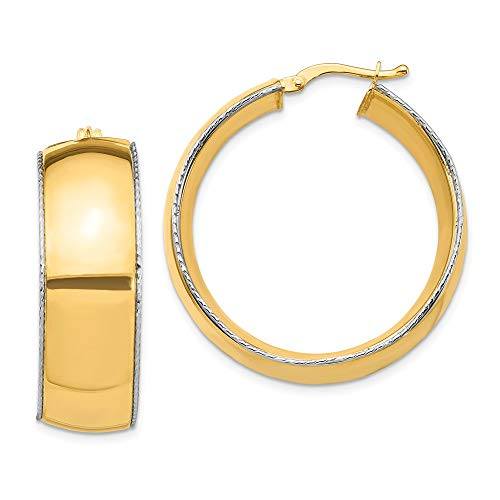 14k Two Tone Yellow Gold 11x31mm Edge Hoop Earrings Ear Hoops Set Round Fine Jewellery For Women Gifts For Her