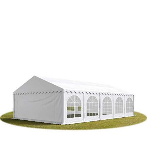TOOLPORT Marquee Garden Tent 5x10 m Heavy Duty Partytent approx. 500g/m² PVC with GROUND FRAME white