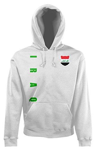 AkyTEX Irak Iraq Kapuzenpullover Hoody Trikot Wunschname Wunschnummer (Weiß, XL)