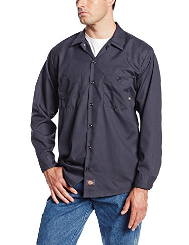 Dickies Occupational Workwear LL535CH XL Polyester/Cotton Men's Long Sleeve Industrial Work Shirt, Extra Large, Dark Charcoal
