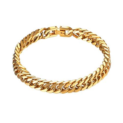 PROSTEEL 18k vergoldet Armband Herren 8mm breit Panzerkette Armband schwer Glieder Link Kettenarmband in 19CM goldenfarbene Armkette Armreif für Männer Jungen Geschenk für Weihnachten Jahrestag