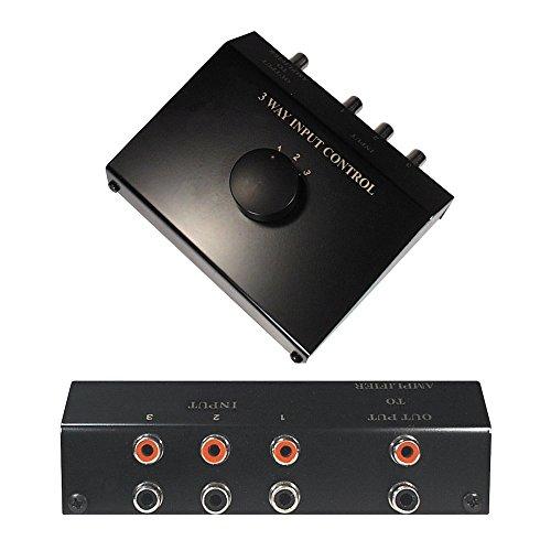 Audio RCA Umschaltbox Switch Controller, 3 Cinch IN Eingang Buchse Kupplung weiblich, 1 Cinch OUT Ausgang Buchse Kupplung weiblich, Schwarz