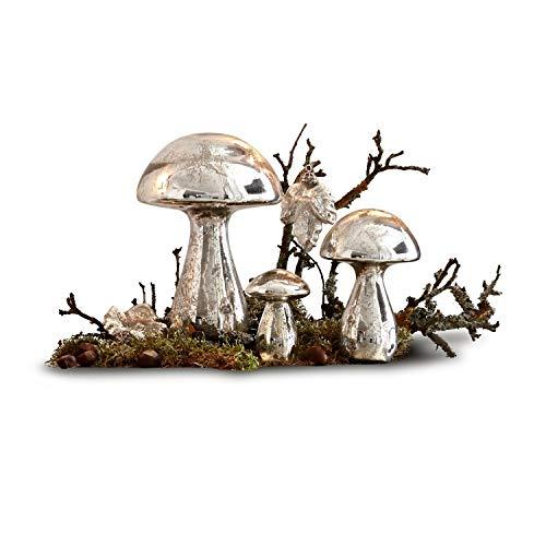 Loberon Deko-Pilze 3er Set Périgord, Weihnachtsdeko, Glas, antiksilber