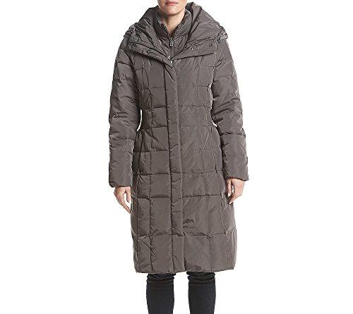 Cole Haan Women's Taffeta Down Coat with Bib Front and Dramatic Hood, Deep Carbon, Medium