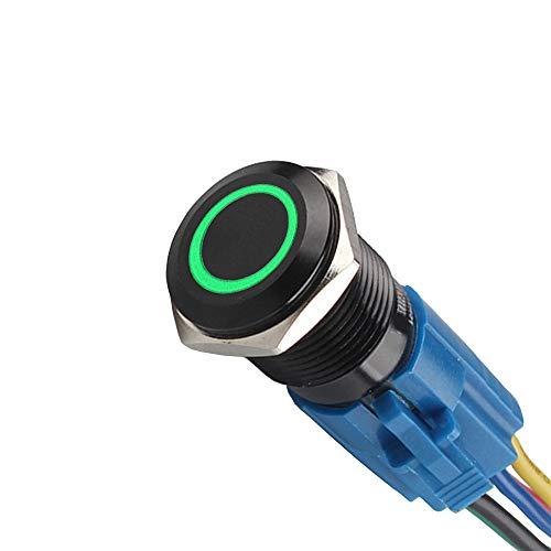 Mintice™ boîtier noir 16mm symbole de puissance vert LED lumière Oeil d'ange 12V bouton poussoir voiture interrupteur à bascule en métal Prise de courant