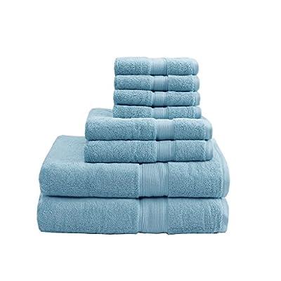 MADISON PARK SIGNATURE 800GSM 8 Piece 100% Cotton Towel Set for Bathroom, 2 Bath Towels, 2 Hand Towels, 4 Washcloths, Premium Long Staple Pile, Spa Luxurious Design, Aqua