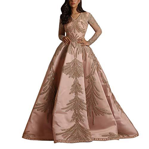 StarneA Cocktailkleid Damen Elegant, Abendkleider V Ausschnitt Partykleid Damen Ballkleid Lang Abschlusskleid Vintage Hochzeitskleider Brautkleider