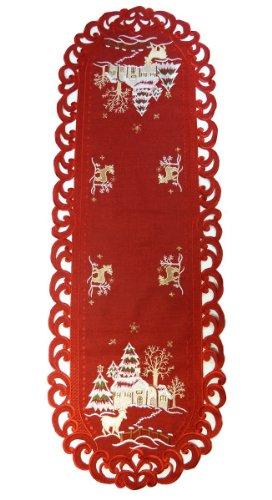 QHS Weihnachtstischdecke-Accessoires – Weihnachtsläufer 110 cm – Rentier mit weihnachtlicher Landhausstickerei (rot)