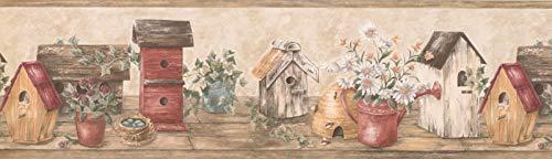 Bordüre aus Holz mit Vogelhäusern, 17,8 x 38,1 cm, cremefarben / Rot HRB4101