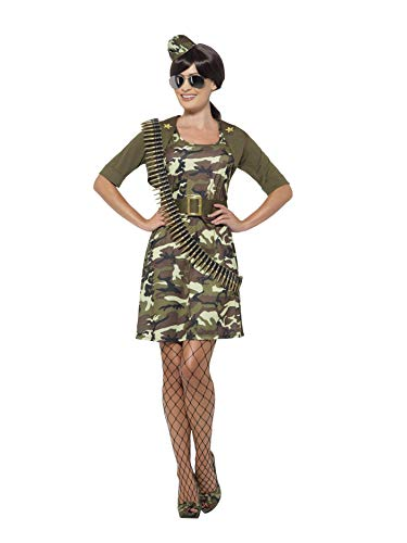 Smiffys 45503S - Damen Kampf Kadett Kostüm, Kleid, Jacke, Gürtel, Hut und Flieger Brille, Größe: 36-38, grün
