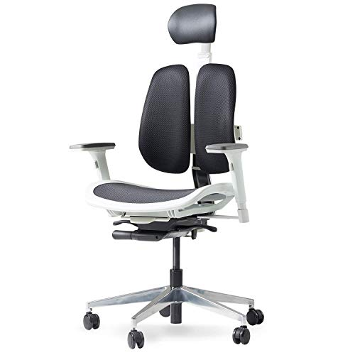Duorest Alpha Breathable Mesh Office Chair with Twin Backrests, Duorest System, Synchronized Tension Tilt, Posture and Pressure Distribution, Fully Adjustable Headrest and Armrest, [White/Black]